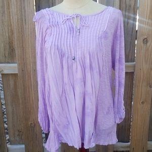 Lavender tie dye peasant tunic